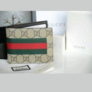 e99e3ef96180 Gucci supreme canvas web bi-fold wallet Authentic